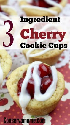This crazy delicious, crazy easy 3 ingredient recipe will blow your mind and taste buds. So head over and check out this 3 Ingredient Cherry Cookie Cups. This Easy Dessert Recipe Idea will be a hit at your next gathering. Healthy Muffin Recipes, Delicious Cookie Recipes, Best Dessert Recipes, Yummy Treats, Sweet Treats, Dessert Ideas, 3 Ingredient Desserts, Bbq Desserts, Cherry Cookies