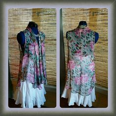 《ON HOLD 》Long Chiffon Floral Vest Long chiffon open front pink and green floral print vest Love Audrey Tops