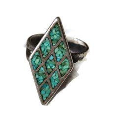 #pickingparadise Turquoise Ring Sterling Silver Old Pawn Mosaic Diamond Shape Ring 7.5