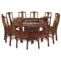 60 in Rosewood Dragon and Phoenix Mother Pearl Inlay Round Dining Table with 10 Chairs. Ornate dragon and phoenix motif mother-of-pearl decoration is hand-inlaid throughout the entire table. Cherry finish. Oriental Rosewood dining set.