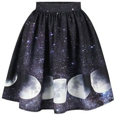 Galaxy Moon Starry Sky Print Skirt found on Polyvore featuring polyvore, women's fashion, clothing, skirts, bottoms, blue skirt, patterned skirts, cosmic skirt, print skirt and blue print skirt