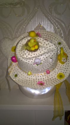 Easter bonnet hat in cream with lace chin ties more available! by PetitechicboutiqueGB on Etsy