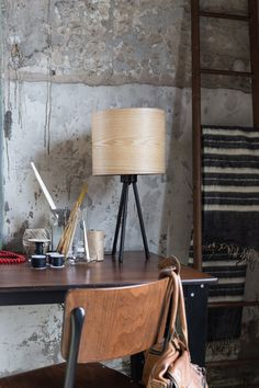 Precision Ash veneer table lamp. Soft diffuse light glows gently through the natural wood grain. A versatile and simplistic table lamp for any room.