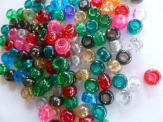 Pony Beads 6 x 9 mm Translucent Sparkle Color by mulberrymoosetoo, $8.00