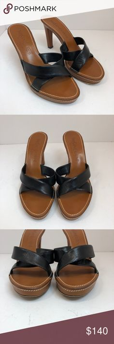 """YSL Yves Saint Laurent Rive Gauche Sandal Heel Made in Italy  Color: Black and tan  Size: 37  Style: Sandal Heel  Material: Leather all  Heel Height: 4""""  Platform Height: 0.5""""  Condition: Great- very little signs of wear on the bottom Yves Saint Laurent Shoes Heels"""
