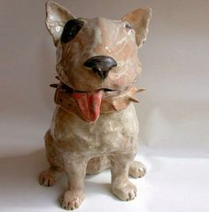 Ceramic English Bull Terrier Dog Sculpture....would look great in paper mache