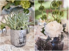 Romantic, Rustic Sage & Grey wedding table decorations - Bridal Musings Wedding Blog   Photo Credit: Julie Morawski and Jasmine Balgobin of Carla Ten Eyck