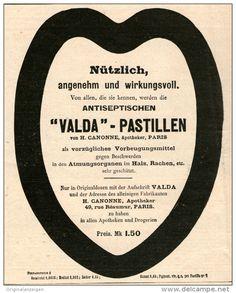 Original-Werbung/ Anzeige 1912 -  VALDA PASTILLEN / APOTHEKER CANONNE PARIS -  ca. 135 x 160 mm