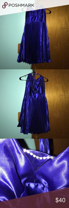 Royal blue homecoming dress! Has been worn once and in great condition.                  Hello everyone! I'm saving up for a homecoming dress that is extremely expensive. If you have any questions about the product, comment below and I will answer your question immediately. I ship everyday (except for Sundays).  Thanks for reading! Jessica McClintock Dresses Prom