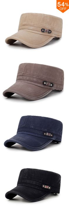 3aaa8987cf9981 Free Shipping&Fashion Mens Washed Cotton Flat Top Hat Outdoor Sunscreen  Military Army Peaked Dad Cap Hoodie