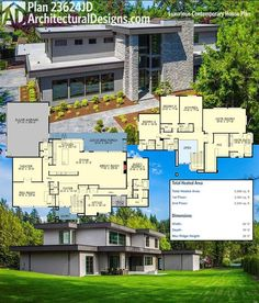 Architectural Designs Luxury Contemporary House Plan 23624JD gives you 4 to 5 beds and over 5,600 square feet of heated living space. Lots of photos! Ready when you are. Where do YOU want to build?