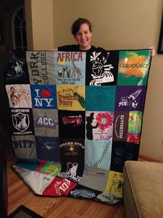 Step-by-Step T-Shirt quilt. Good for old college t-shirts and other memorable…