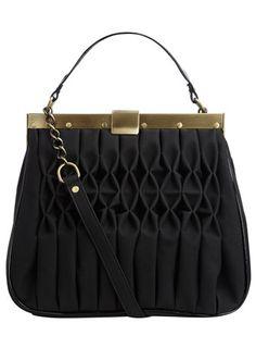 Black gathered frame bag