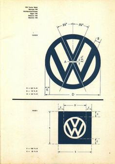 Volkswagon logo specs. Its incredible to think this was made by hand. Graham Smith recreated it in Illustrator here: jed.mu/9hJf