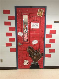 The True Story of the Three Little Pigs classroom door.