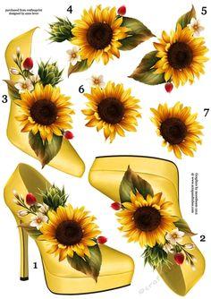 Stunning Shoe & Sunflower Decoupage Sheet | Craftsuprint