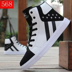 Fashion Men Boots Winter Shoes Man Hip-hop High Help Shoes Lace-Up Casual Leather Boots Comfortable Superstar Adult Men's Shoes Top Shoes For Men, Boys Shoes, Shoes Men, Sports Shoes, Men's Shoes, Moda Sneakers, High Top Sneakers, Casual Shoes, Men Casual
