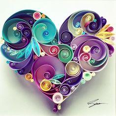 celebrating  the 100th heart that i made so far  senaruna.etsy.com #senaruna #quilledpaperart #100th