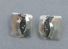 Modern Designer Sterling Silver Oxidized Pod Earrings Signed