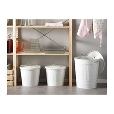 These white trash bins are the cutest and they have lids! :) KNODD Bin with lid - white, 4 gallon - IKEA $14.99