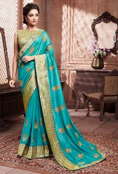 Soft art silk festival saree blue color with weaving work online. Blue beautiful wedding saree is soft art silk fabricated with matching blue color art silk fabric blouse. Blue fancy designer saree is weaving and jari work. Trendy Sarees, Fancy Sarees, Party Wear Sarees, Traditional Sarees, Traditional Fashion, Latest Designer Sarees, Art Silk Sarees, Indian Ethnic Wear, Festival Wear