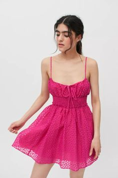 UO Riley Smocked Waist Mini Dress | Urban Outfitters Funky Hairstyles, Urban Dresses, Smocking, Urban Outfitters, Summer Outfits, Mini, Clothes, Tops, Spaghetti Straps