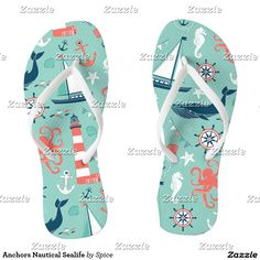 Anchors Nautical Sealife Flip Flops