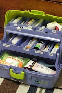 Medical kit in a tackle box. REVIEW: I couldn't find the right tackle box for our needs so I bought a plastic tool box with several compartments. Some easy to access everything and saves space!