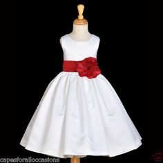 White a line t length girl dress more than 20 sash colors bridesmaid white dark cherry apple red floral satin sash new flower girl dress 2 4 6 8 mightylinksfo