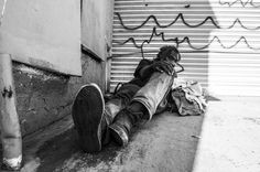 Nov. 28, 2013. Alameda Street, Los Angeles. <br><br>  Gregory Thomas, Vietnam War veteran, has been homeless since the 1980s. He sleeps a few dozen yards away the Arts District where gentrification has been highly effective in moving the homeless out of the area.