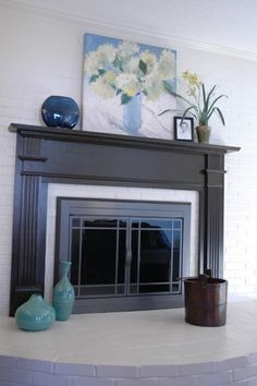 black painted fireplace - after paint family room Fireplace Facing, Paint Fireplace, Home Fireplace, Fireplace Design, Fireplace Mantels, Black Fireplace, Fireplace Ideas, Fireplaces, Mantle