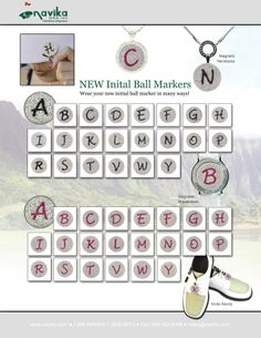 NEW!!!! Initial ball markers. Available now on navika.com in black or pink. Made with genuine Swarovski crystals. Wear it as a necklace, kicks candy, on your hat, or on a wristband.  Makes a great gift for any golf lover!!