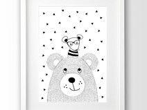 Kinderposter Bär und Hipster Maus, schwarz weiß