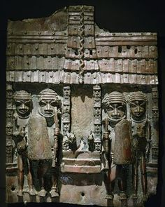 A plaque showing an entrance to the palace of the Oba of Benin.