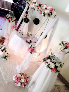 Diy easy cute cradle decoration naming ceremony for Baby name ceremony decoration
