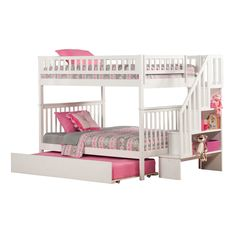 Atlantic Woodland Staircase Bunk Bed over with Urban Trundle Bed in