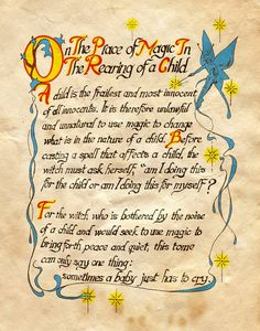 """""""On the place of magic in the rearing of a child"""" - Charmed - Book of Shadows Charmed Spells, Charmed Book Of Shadows, Wicca Witchcraft, Magick Spells, Demon Spells, Wiccan Art, Wiccan Magic, Charmed Tv Show, Charmed Sisters"""