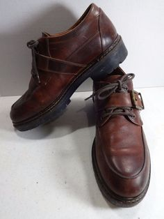 JOHNSTON MURPHY Passport Men 11M Brown Leather Oxford Monk Strap Made In Italy…