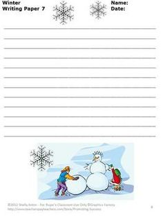 FREE Winter Writing Paper: Here are 10 FREE winter writing pages. Each page features different winter clipart. I hope you and your students enjoy this winter freebie!
