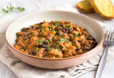 Creamy three bean stew - healthy comfort food! The stew is totally vegetarian, but is still really high in protein, and the sauce is really rich and creamy.