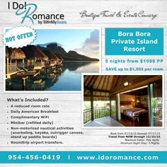 "We have an amazing Honeymoon Offer! Getting married within the next 5 months? Call us for more details for this gorgeous ""over the water bungalow"" resort in Bora Bora. Book NOW through 7/27, travel through 12/15/15  ‪#‎WorththeMoneyWednesday‬ ‪#‎BoraBora‬ ‪#‎honeymoondestinations‬ ‪#‎destinationwedding‬ ‪#‎luxurytravel‬ ‪#‎traveloffer‬ ‪#‎love‬ ‪#‎takemethere‬ ‪#‎sitinmyseats‬ ‪#‎HOToffer‬"