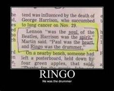 The Beatles -- ringo was the drummer