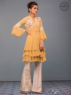 Show details for Mellow Yellow Fancy Dress Design, Stylish Dress Designs, Designs For Dresses, Pakistani Fashion Casual, Pakistani Outfits, Indian Outfits, Stylish Dresses For Girls, Girls Dresses, Couture Dresses
