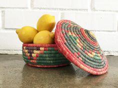 Vintage Handmade Colorful Southwestern Tribal Woven Basket