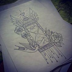 hourglass tattoo by Kohlmeisen