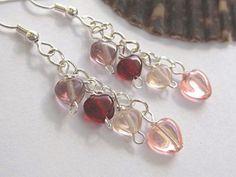 Heart earrings red and pink dangle earrings by SunshineDaydreamz, $10.00