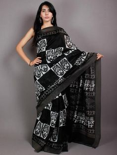 Black White Hand Block Printed in Natural Vegetable Colors Chanderi Saree With Geecha Border - S03170511