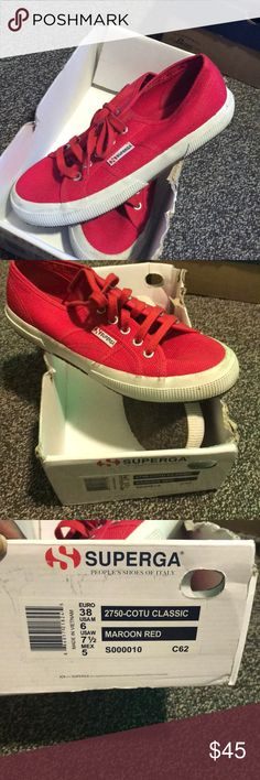 Red Superga Sneakers These are sneakers from Italy! Very in style for college students. Good condition. I wear a size 8 and these are a 71/2 and fit fine! Superga Shoes Sneakers