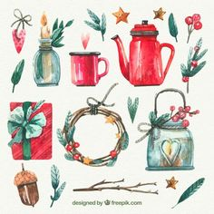 Xmas set Vectors, Photos and PSD files Winter Illustration, Christmas Illustration, Botanical Illustration, Watercolor Illustration, Watercolor Paintings For Beginners, Watercolor Drawing, Watercolor Flowers, Diy Christmas Cards, Christmas Art