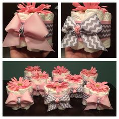 Custom Personalized MINI DIAPER CAKES Baby Shower Gift Table Decoration Diaper Bundles Centerpiece Girl Any Theme Pink Grey Chevron Flowers